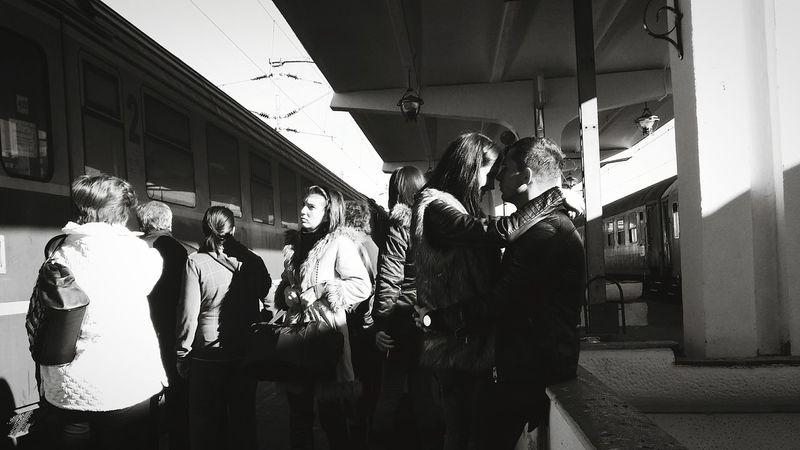 Lovers Love Train Station Train Central Station Streetphoto_bw Streetphotography Streetphoto The Street Photographer - 2015 EyeEm Awards Blackandwhite Photography Monochrome UNPOSED Candid Citylife Lensculture Kiss Couple Infatuation Sorin Timisoara Romania People Bw