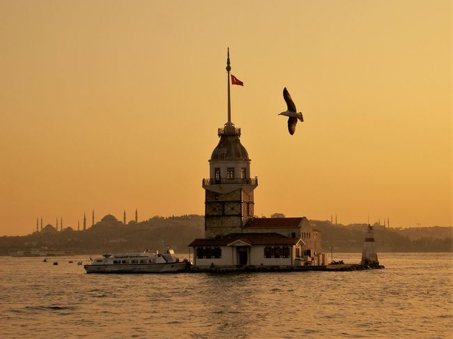 Maiden's Tower and the Seraglio Point at sunset from the Asian side of Istanbul. Leander's Tower Architecture Bosphorus Sunset Bosporus Famous Place International Landmark Lighthouse Maidens Tower Waterway Bosphorus Been There.