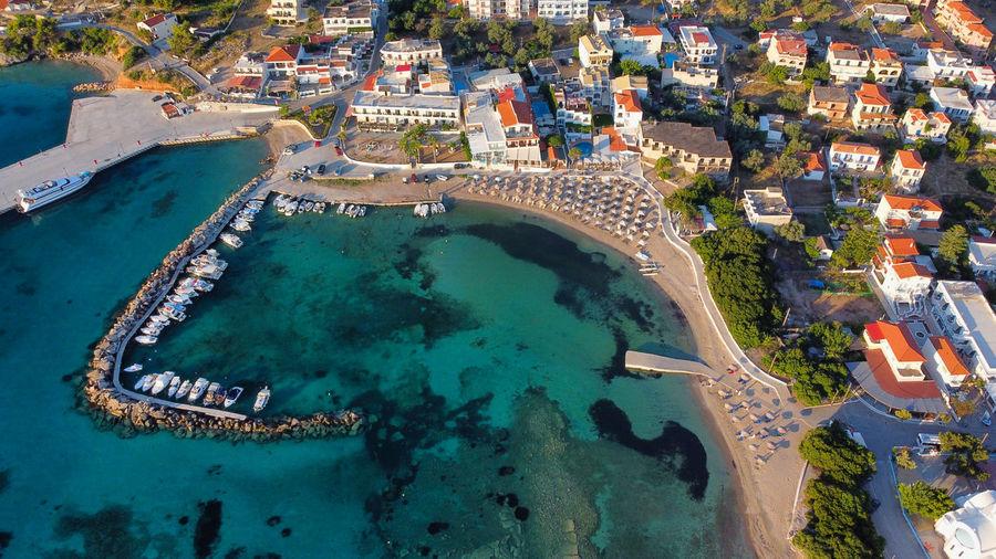 High angle view of sea  in greek island