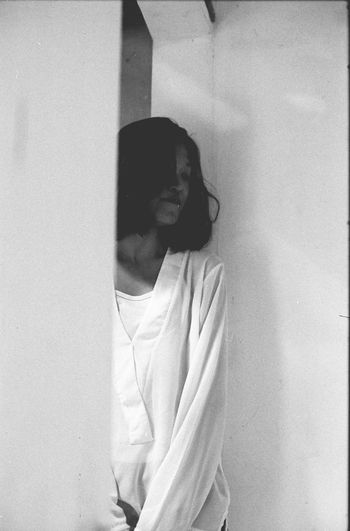 meysa in the gallery 35mm 35mm Film Analogue Photography ASIA Asian  B&W Portrait Black And White Blackandwhite Canon Doorway Film Film Photography Filmisnotdead Gallery Ilford Moody One Person Portrait Of A Woman Showing Imperfection The Portraitist - 2016 EyeEm Awards Natural Light Portrait