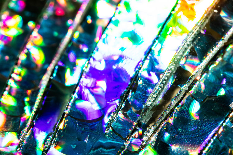 Close-up of multi colored glass lights