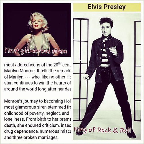 Hollywood Icons - fascination - died young! Marilynmonresfascination Thekingofrock &roll Elvizprestley Elvis marilynmonroe hollywood icons mostglamoroussiren theking