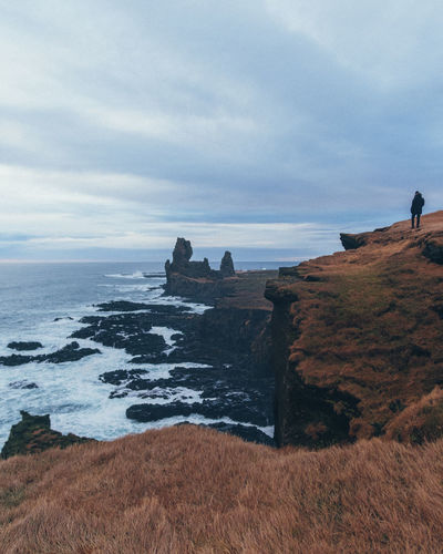 Lóndrangar Iceland Londrangar Sky Sea Water Cloud - Sky Beauty In Nature Land Scenics - Nature Nature Horizon Tranquil Scene Tranquility Rock Horizon Over Water Stack Rock Outdoors One Person Solid Cliff Cliffs Coast Coastline