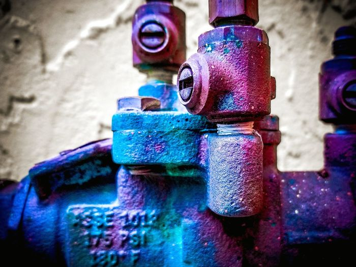 Close-up Outdoors EyeEmNewHere Colorful Cl3ar Vi3w Jupiter, FL Purple Teal Valve Pipe Industrial Industry And Nature Collide Arts Culture And Entertainment Factory Business Finance And Industry Pipe - Tube