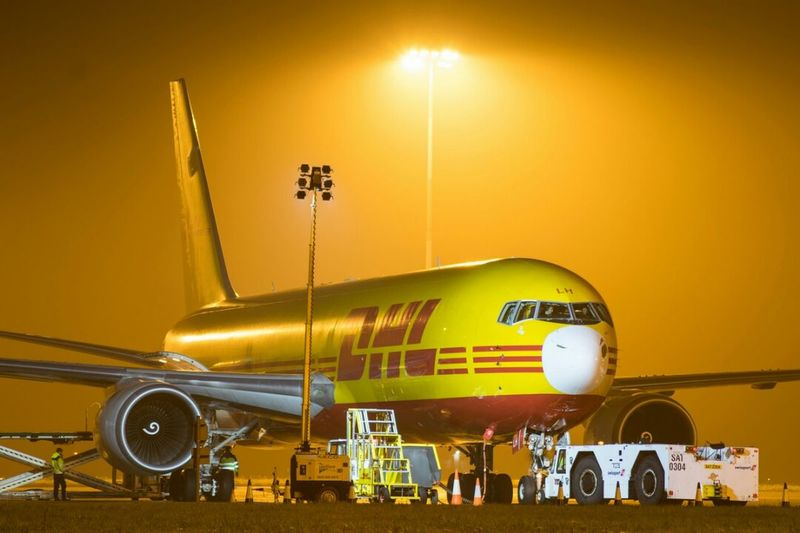 DHL Express Dhl Aircraft (Airbus A300) at Robin Hood Airport. Yellow Transportation Airplane No People Work Flying Aviation Aviationphotography Nikonphotographer Aerospace Industry Cargo Night Runway Travel