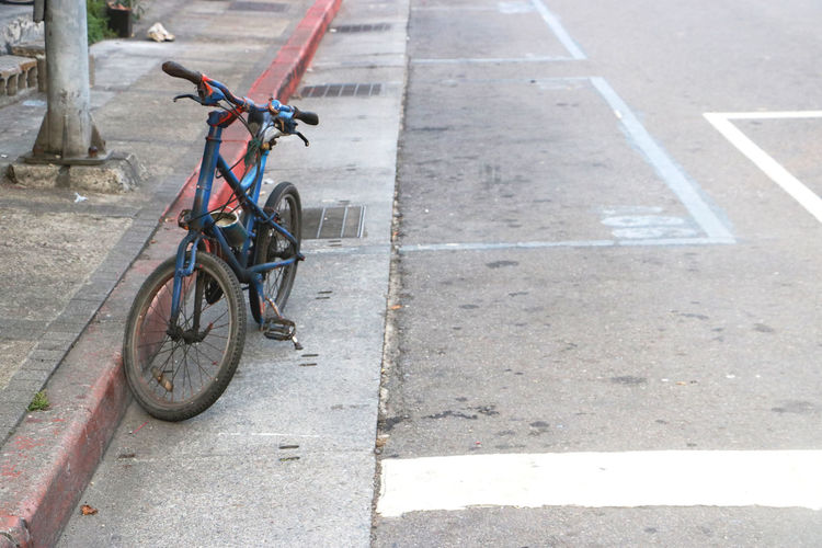 High angle view of bicycle on street