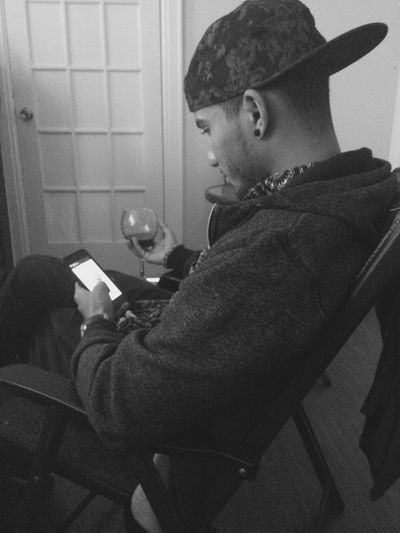 Afternoon Relaxing Relative Cousin Wine Wine Tasting Blackandwhite Black And White Balck And White Blackandwhite Photography Youth Chair Man Drinking Sitting Inside Photography Phone Earings Door