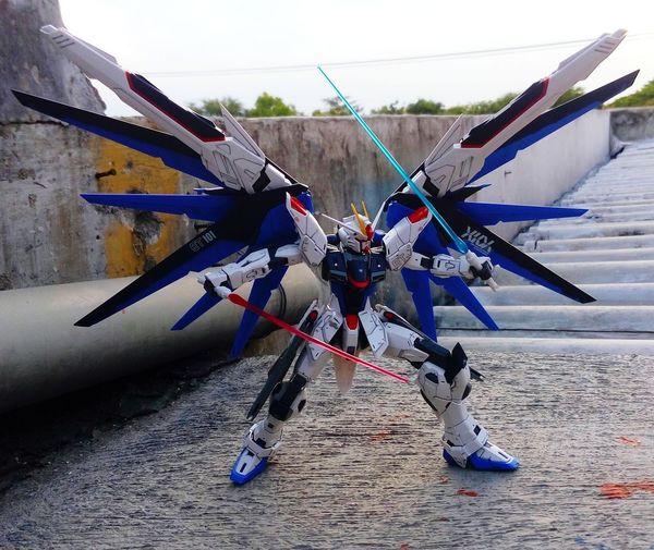 Strike freedom on actions Gundam Gunpla BANDAI Plasticmodels Toys Strikefreedomgundam Mastergrade Ice Rink Ice Hockey Sport Hockey First Eyeem Photo