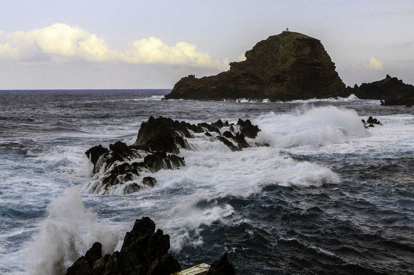 Beauty In Nature Cliff Cloud - Sky Coastline Day Horizon Over Water Idyllic Madeira Island Motion Nature No People Outdoors Porto Moniz Madeira Power In Nature Rock Rock - Object Rock Formation Scenics Sea Seascape Shore Sky Tranquil Scene Water Wave
