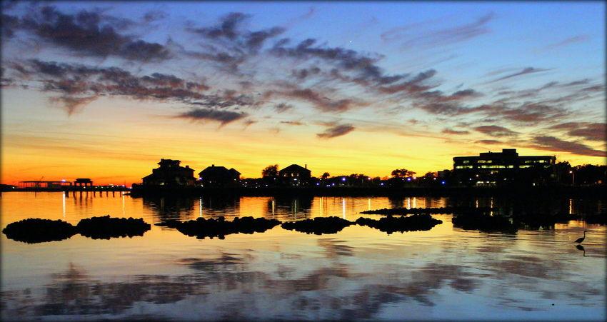 Goodnight Said the Nightman EyeEmNewHere Coastline Buildings Sky And Clouds Yellow Blue Florida Coastal Sunset Nightfall Gulf Coast Intercoastal Waterway Water Sunset Reflection Dusk Sky Cloud - Sky Waterfront Silhouette Tranquil Scene Tranquility Scenics