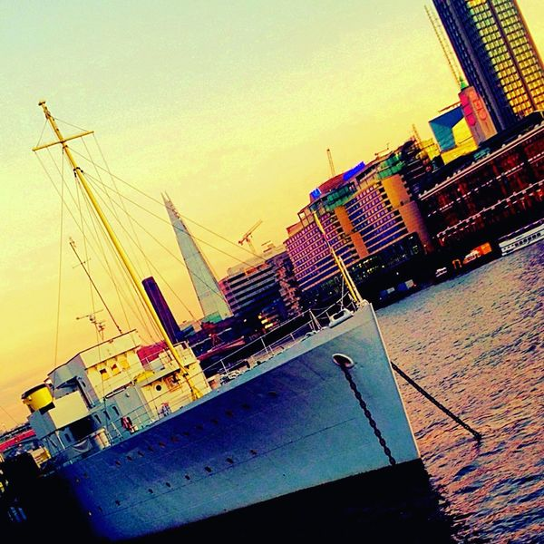 Water Waterfront Tilt Sky Tranquil Scene Sea Sunset Calm Architecture Nautical Vessel Ocean Building Exterior Rippled Commercial Dock Tranquility Scenics Solitude Outdoors Beauty In Nature Nature Water Reflections Waterloobridge City Sunset_collection London