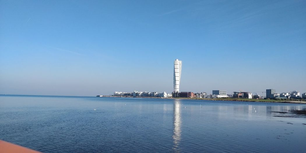 Sky Architecture Built Structure Building Exterior Water Building City Clear Sky Office Building Exterior Skyscraper Sea Waterfront Copy Space Nature Tall - High Blue Tower No People Day Outdoors Cityscape Calatrava Turning Torso