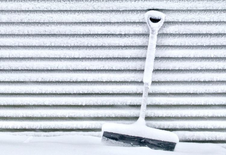 Close-up of metallic structure on snow