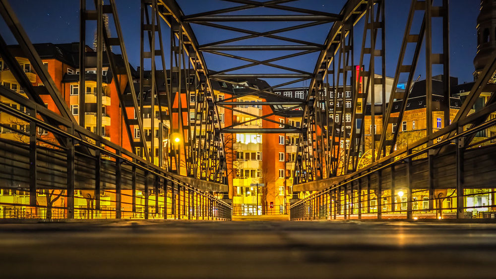Hamburg Speicherstadt Construction Low Angle View Architecture Bridge Built Structure Connection Illuminated Illumination Metal Night No People Outdoors Sky Speicherstadt The Graphic City