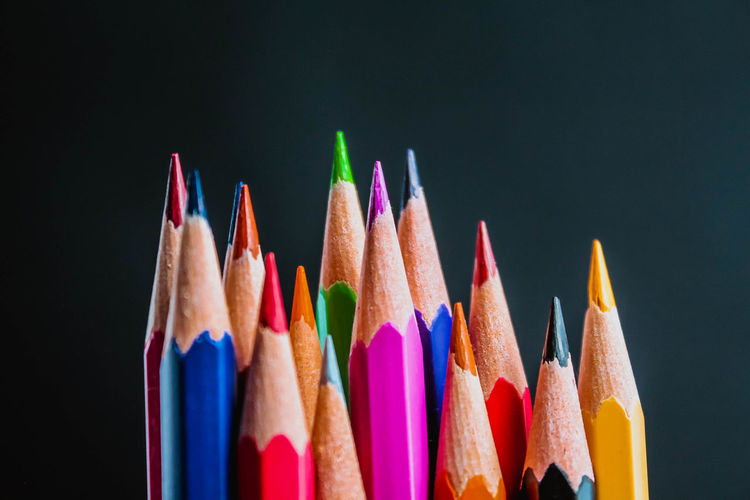Colorful pencils on white background Pencil Pencils Sharp Color Colorful Colors Rainbow Group Collection Palette Orange Color Red Color Row School Craft Art Draw Drawing Spectrum Creativity Design Black White Color White Background Black Background Isolated Crayon Education Close-up Closeup Close Up Green Color Blue Color Bright Brown Brown Color Arrangement Background Textured  Texture Nobody Pink Color Top View