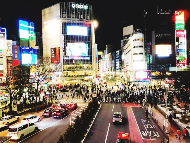 Japan Illuminated Night City Crowd Large Group Of People City Life Building Exterior