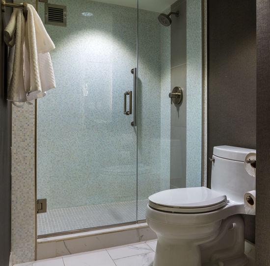 Closed door in bathroom at home