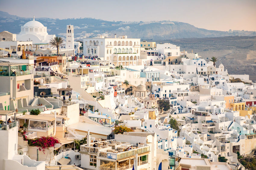 Greece Santorini Oia Thira Building Exterior Architecture Built Structure City Crowded Building Residential District Nature High Angle View Crowd Mountain Day Town Sunlight Community Cityscape Outdoors Travel Destinations House TOWNSCAPE