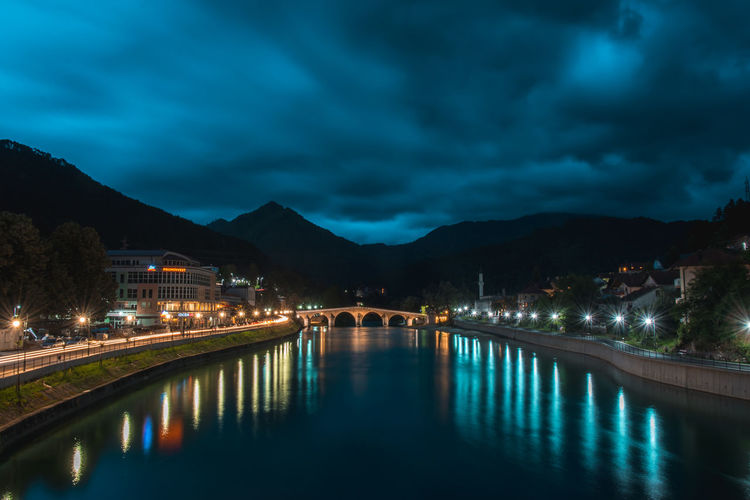 Twilight in Konjic City Cityscape Architecture Bridge Bridge - Man Made Structure Building Exterior Built Structure Cloud - Sky Dusk Illuminated Long Exposure Mountain Nature Night No People Power In Nature Reflection River Scenics - Nature Sky Water Waterfront