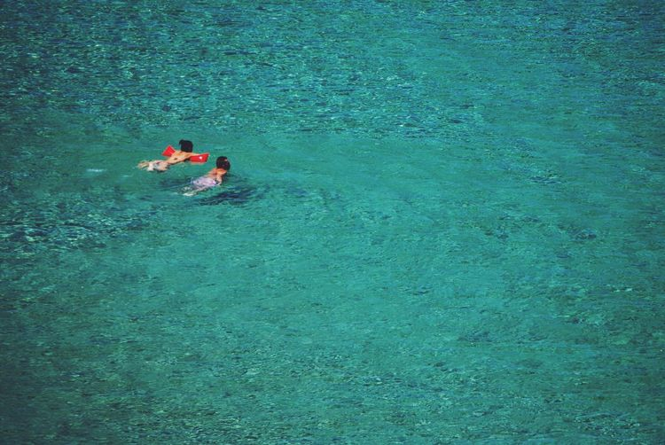 Menorca Hapiness Calm Relaxing Island Menorca Balearic Islands Swimming Summer Vacations Idillic Transparent Blue Menorca Water Real People High Angle View Leisure Activity Lifestyles Men Waterfront Nature Sea Day Sport Outdoors