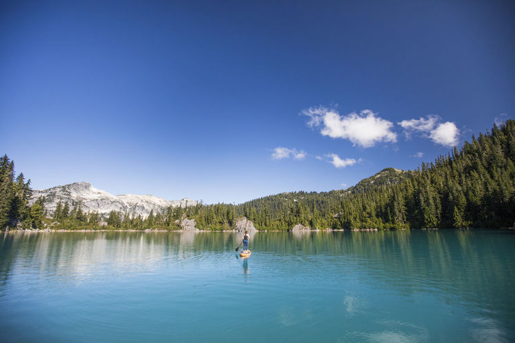Man standing by lake against blue sky
