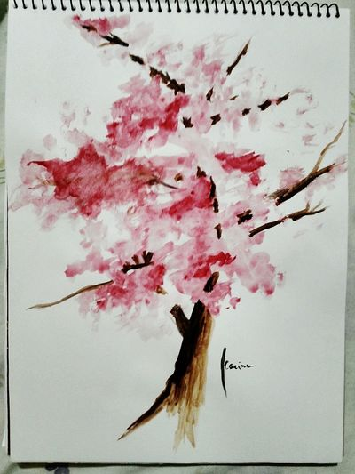 Well, I tried my best. First Time Painting Cherryblossom Inspired by Joanna Szmerdt (hope she doesn't mind) Art Watercolor Karbbartistic
