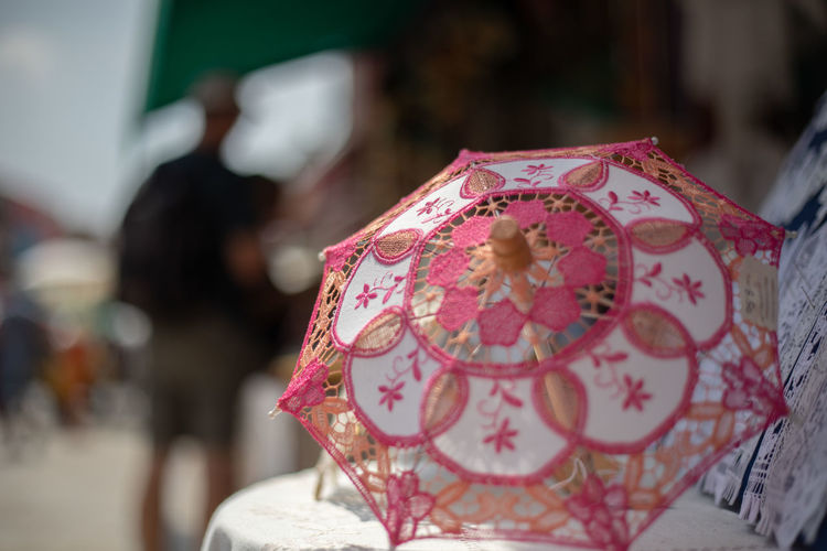Blur Background Floral Pattern Focus On Foreground Pattern Pink Color Store Item Streetphotography Umbrella