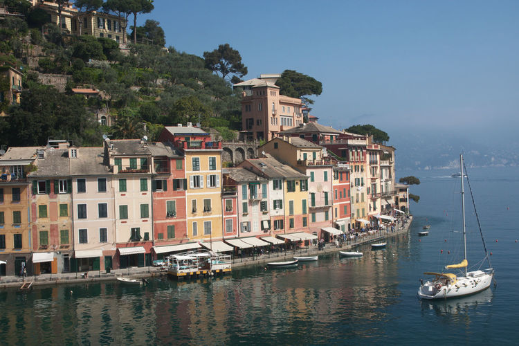 Portofino on a summer's day (Liguria - Italy) Beautiful Cityscape Daytime Portofino Summer Views TOWNSCAPE View Above View Buiding Colorful Europe Famous Place Italy Landmak Liguria Picturesque Resort Sea Seafront Summer Town Travel Destinations