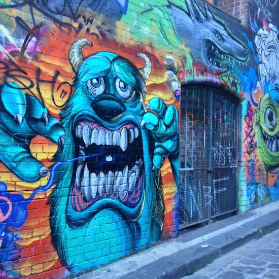 Abstract Art Australia Backgrounds Colorful Colourful Creativity Graffiti Laneway Melbourne Melbourne Graffiti Monsters INC Mosters No People Outdoors Spraypaint Street Art