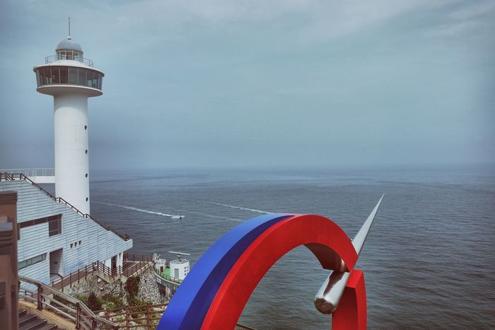 Taejongdae Recreation Area (태종대유원지(부산)) Boats Cloud - Sky Day Horizon Over Water Korea Landmark Lighthouse Nature No People Ocean Outdoors Panorama Part Of Protection Red Safety Scenics Sea Security Sky Tranquil Scene Tranquility Travel Destinations