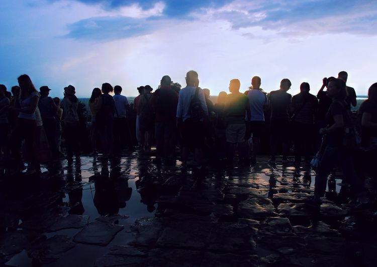 Waiting for sunset and night scene Sun Beams Backlight Rear View Back View Phnom Bakheng Wating Sunset Crowd Large Group Of People Group Of People Real People Water Sky Nature Enjoyment Men Women Cloud - Sky Leisure Activity Outdoors Fun Wet Lifestyles Reflection Silhouette