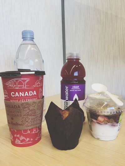 Bottle Indoors  Drink Food And Drink Text Table No People Refreshment Jar Lid Close-up Day Freshness Morningbreakfast Coffee Darkroast Muffin Vitaminwater Bottledwater Happythursday  Atworkrightnow Live For The Story The Photojournalist - 2017 EyeEm Awards