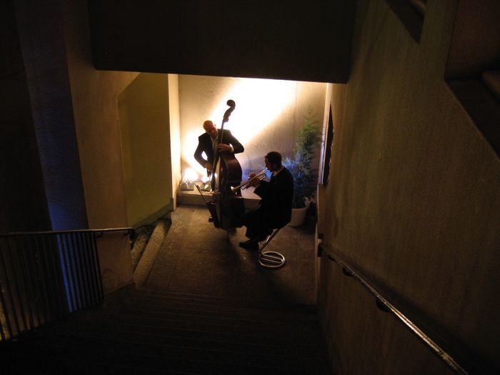 Duet On The Stairs Jazz Musicians Trumpet Double Bass Musicians