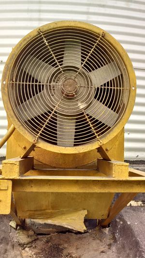 No People Electric Fan Day Close-up Exhaust Fan Indoors  Factory Metal Industry Manufacturing Equipment Built Structure Yello Colour Archaic