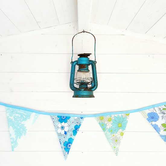 Vintage oil lantern and fabric bunting No People Indoors  Close-up Day Interior Style Still Life Photography Indoors  Vintage 1950's Fabric Lantern Vintage Style, Old,