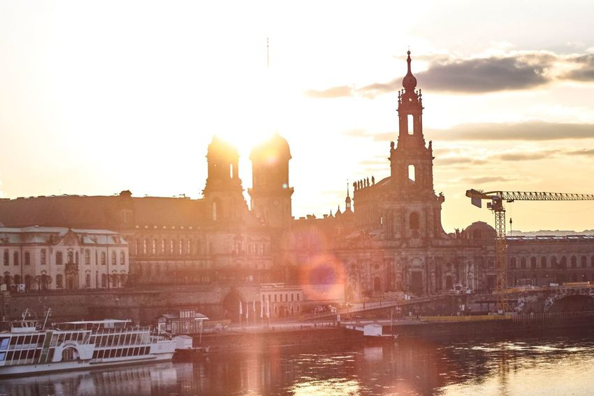 Dresden Skyline 🌃 Architecture Building Exterior Built Structure Lens Flare Sunlight Water City Outdoors Waterfront River Sunset Sky Travel Destinations History Sun No People Bridge - Man Made Structure Nautical Vessel Day Cityscape