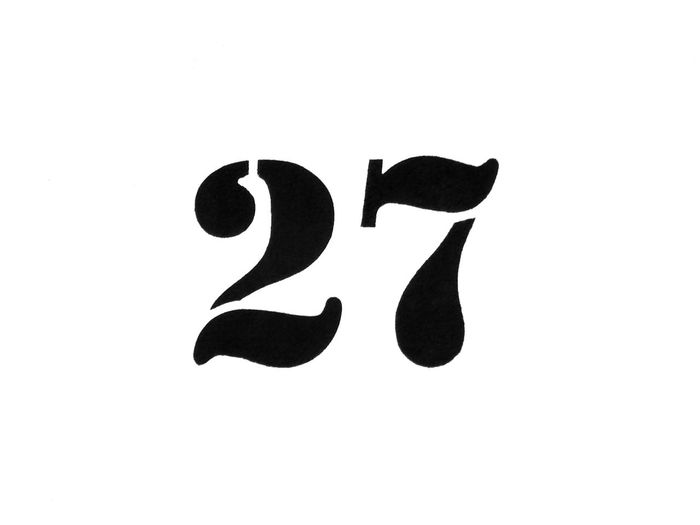 A 27 illustration from a photography -- Numbers and illustration by photography Twenty Seven Numbers On White Black Color Communication Writing Image Technic Illustration Typo