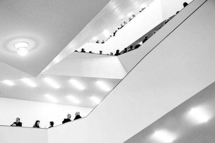 Amazing Elbphilharmony Stairs, again and again... Arc Bw Arc+ Group Of People Architecture Indoors  Leisure Activity Architecture Interior Art And Architecture White Album Blackandwhite Bnwphotography