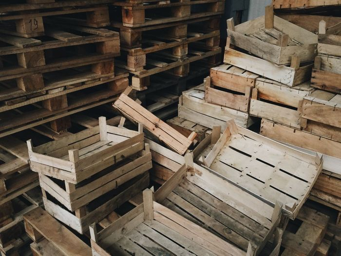 High angle view of stack of wooden equipment