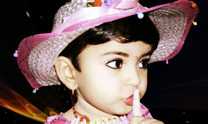My daughter Rishika Young Girl Model Silence Is Golden Index Finger Silence Quiet Hat