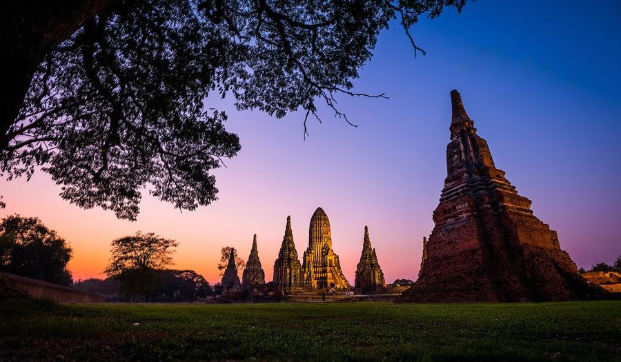 Panoramic view of temple at sunset