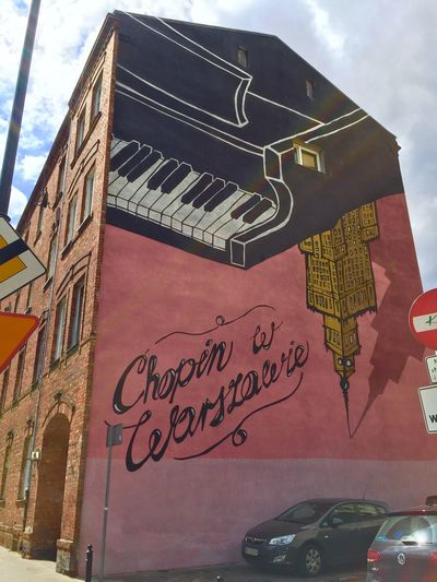 Chopin in Warsaw ( graffiti). Architecture Traveling Tadaa Community Travel Warsaw Poland Check This Out Chopin Mural Graffiti Streetart