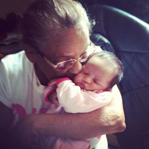 The new addition of the family with her great great grandmother New Addition To The Family Great-great Grandmother  Baby Girl Zay