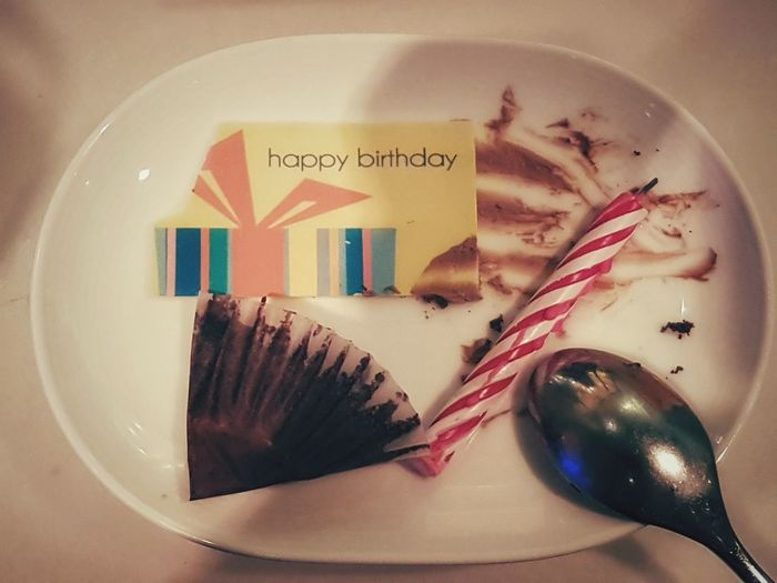 happy birthday @ le jardin, Wynn Love PhonePhotography Samsungphotography EyeEmSelect Eyeemphotography Wonderful USA Plate Fork Text Close-up Leftovers Served Empty Plate Spoon Pastry Eaten Eating Utensil Silverware  Place Setting