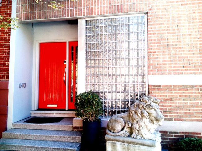 Red Red Doors And Windows Building Exterior Building Facade Elegant Entrance Home Fancy Wealth