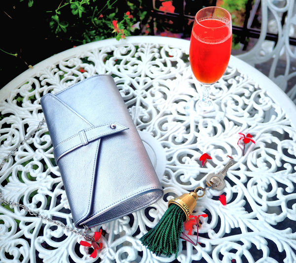 Cocktail Elégance Night Out A Night Out Aperol Bag Class Drink Drinking Glass Evening Bag High Angle View Hotel Key Hotelkey Red Cocktail Rosé Silver Bag Silver Evening Bag Table Upmarket Hotel