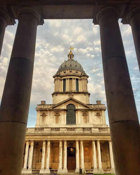 Postcode Postcards Greenwich Architecture Built Structure Building Exterior Architectural Column Sky Low Angle View Travel Destinations Tourism Religion Place Of Worship Spirituality Travel Day Façade Dome Outdoors No People City
