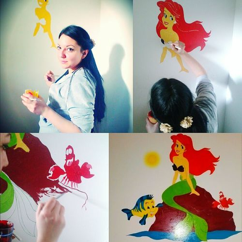 Step By Step Creating Art... Creating Dreamscapes Creating Art Cartoon Characters On The Wall Painting ArtWork Art, Drawing, Creativity Little Mermaid  Childhood