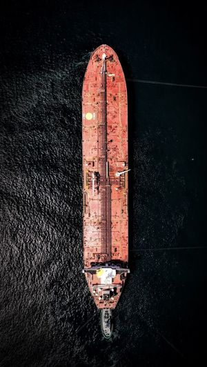 High angle view of old ship against wall at night