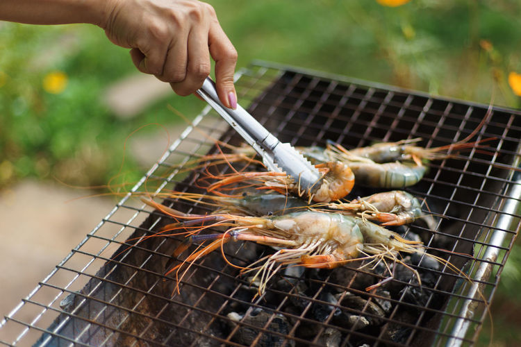 Close-up of hand grilling prawn